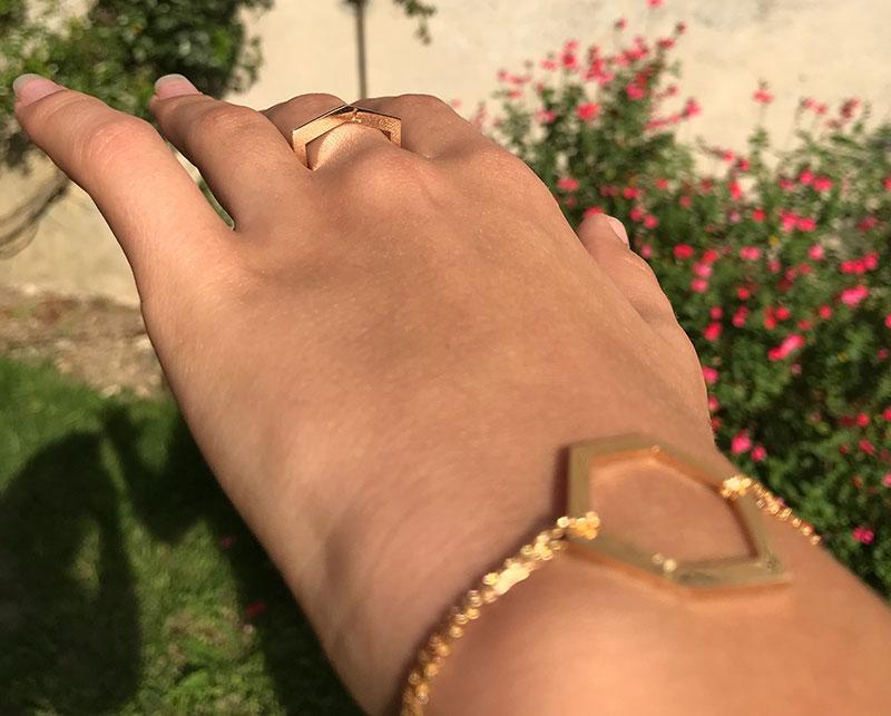 Collection Landy Bague-or-rose bague bracelet or jaune