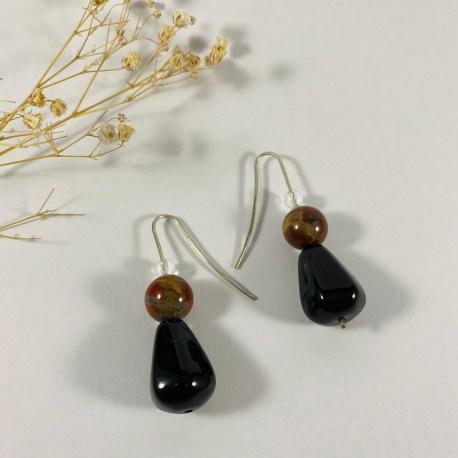 onyx quartz jaspe boucles d'oreille