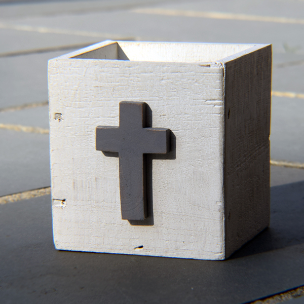 Wooden Cross Planter Box