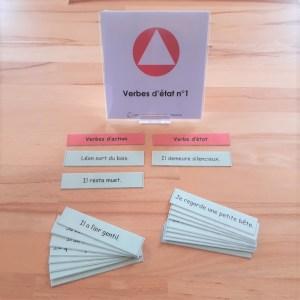 Verbes d'état ; étiquettes de manipulation Montessori