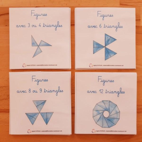 Modèles de figures à réaliser avec les 12 triangles bleus Montessori