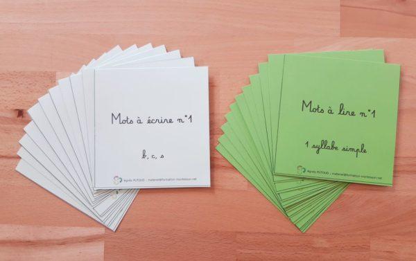 23 Jacquettes pour identifier la 1ère série d'écriture-lecture Montessori