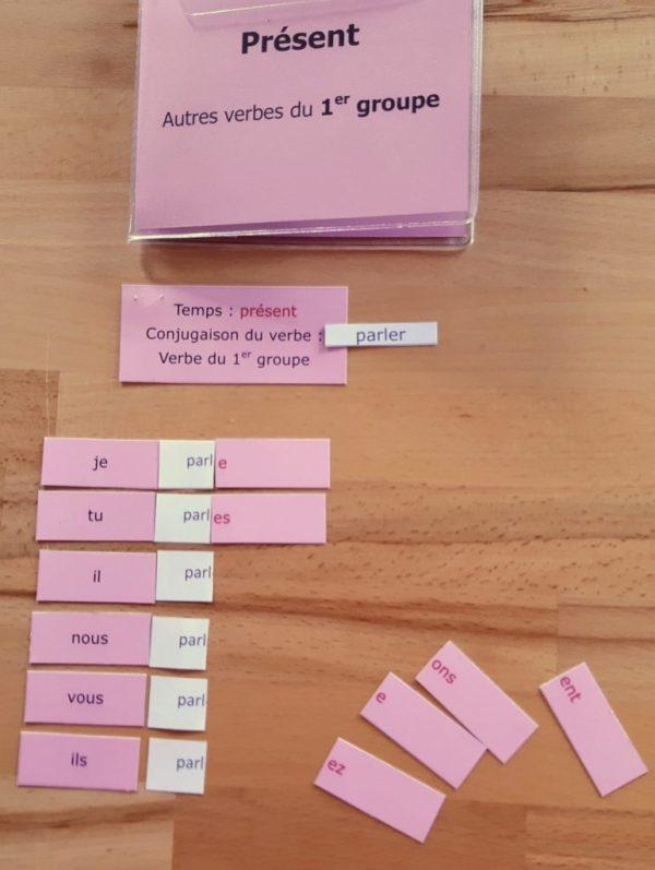 Conjugaison Montessori; matériel autocorrectif