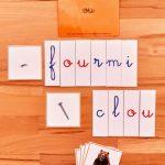 3ème série d'écriture-lecture ; dictées muettes Montessori ; lecture du mot Montessori ; apprendre à lire et à écrire en pédagogie Montessori ; série orange Montessori ; mots à lire ; mots à écrire