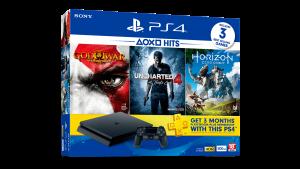 PS4 Hits Bundle, una PS4 Slim con 3 juegos y una membresía de 3 meses de PS Plus