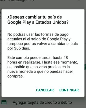 Desventajas de cambiar país Google Play
