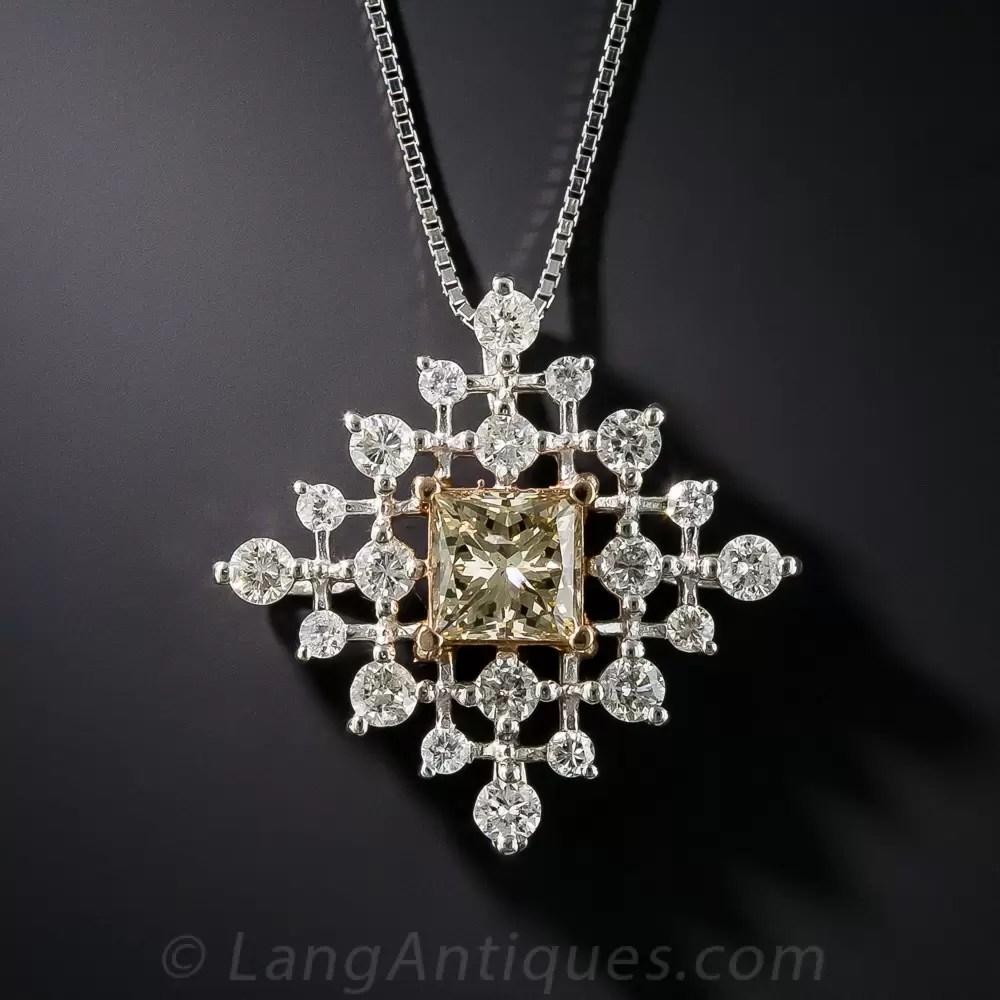 101 Carat Fancy Color Princess Cut Diamond Pendant