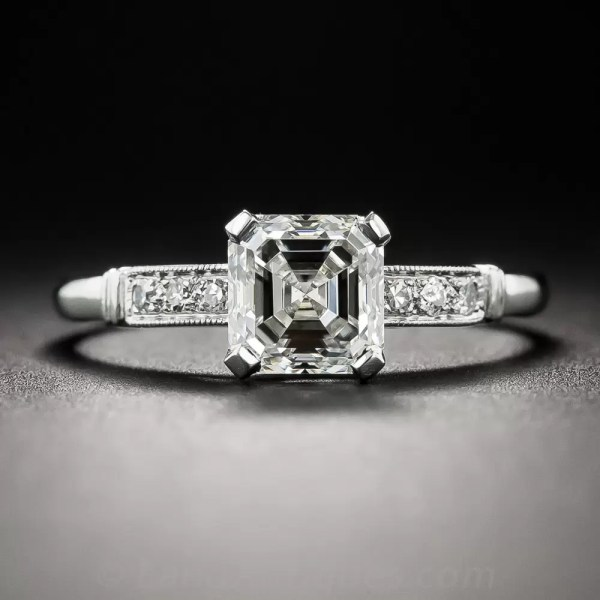 1.21 Carat Asscher-cut Diamond Vintage Engagement Ring