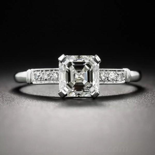 1.21 Carat Asscher-cut Diamond Vintage Engagement Ring - Gia Vs2