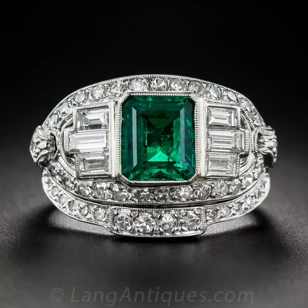 150 Emerald and Diamond Art Deco Ring With Matching Band