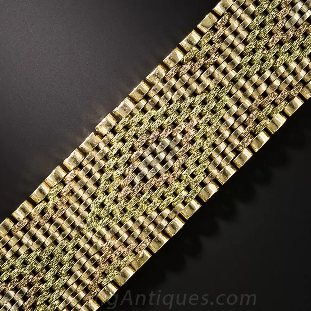 18K Tri Color Gold Mesh Bracelet
