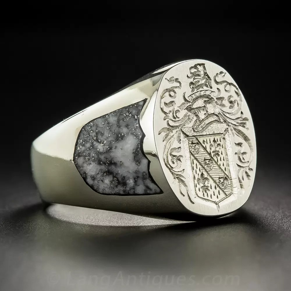 Gents 18K White Gold Coat of Arms Signet Ring by Rampant