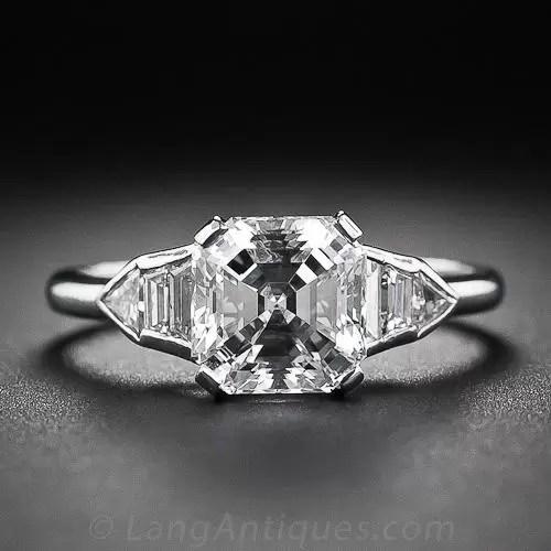 202 Asscher Cut Diamond Art Deco Ring