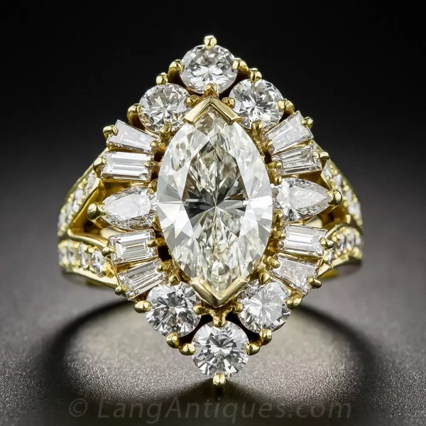 2.03 Carat Marquise Estate Diamond Ring - Vintage
