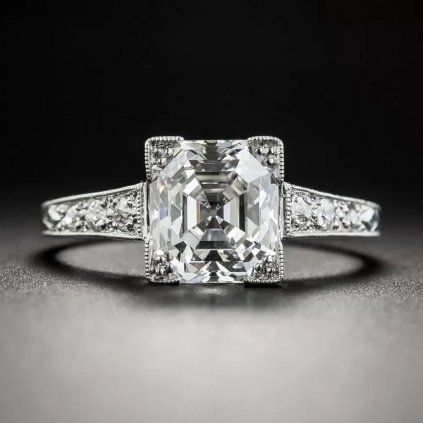 2.31 Carat Asscher-cut Platinum Diamond Ring - Gia Vs1