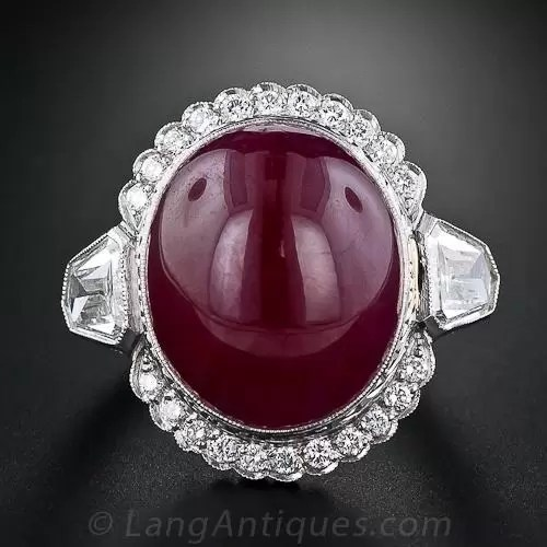 26 Plus Carat Oval Cabochon Ruby And Diamond Ring