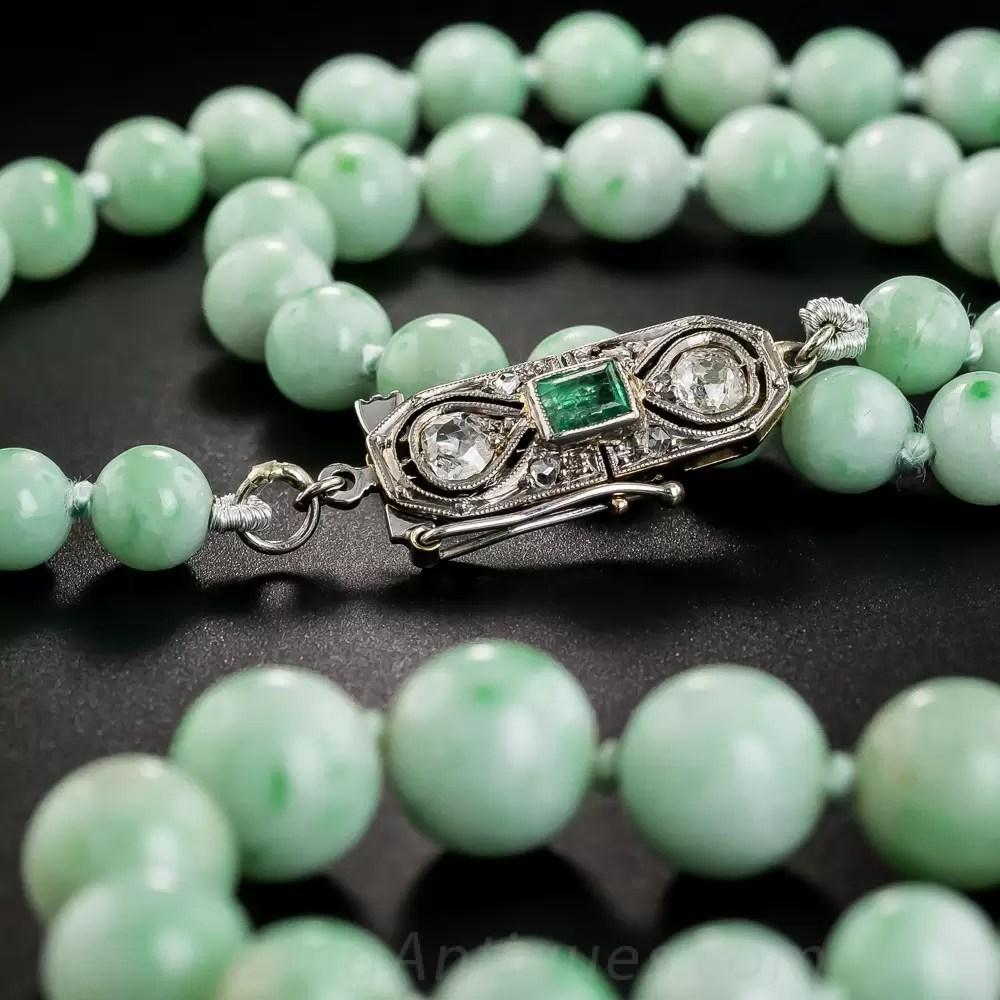 32 Natural Burmese Jade Bead Necklace