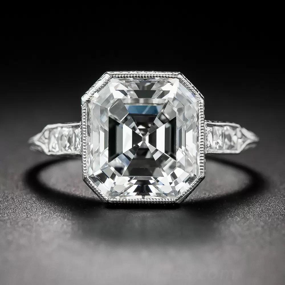 404 Ct Asscher Cut Diamond And Platinum Ring GIA HVS1