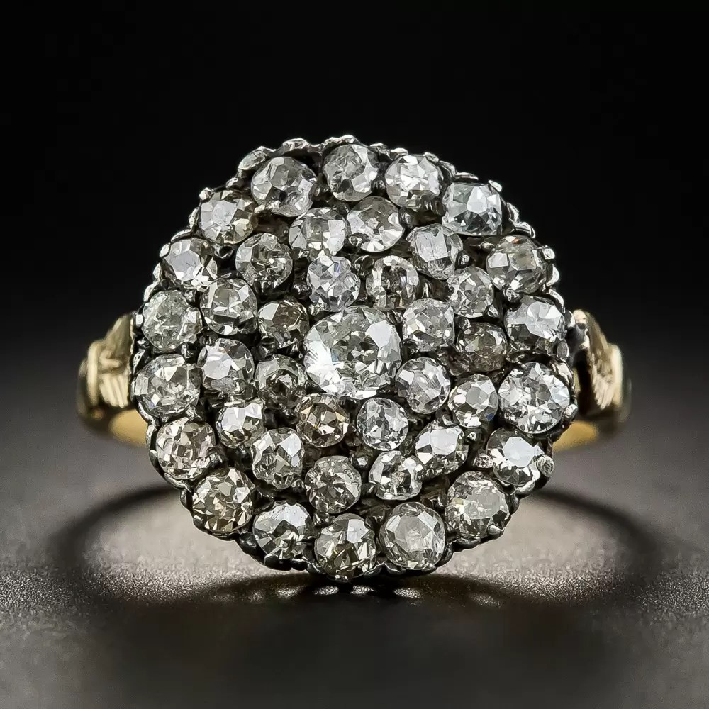 Antique Silver Over Gold Diamond Cluster Ring  Victorian