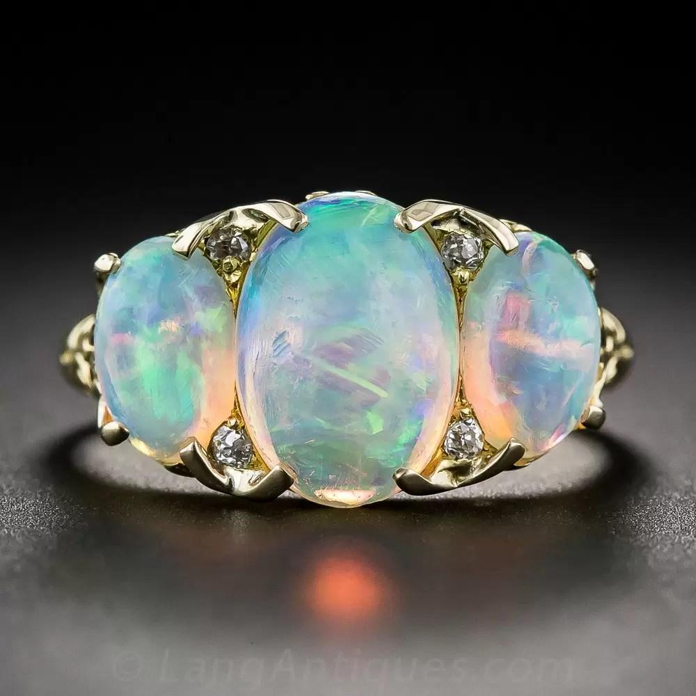 Antique Three Stone Opal Ring