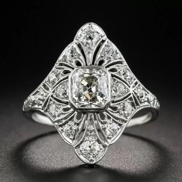 Art Deco 1.05 Carat Asscher-cut Diamond Dinner Ring