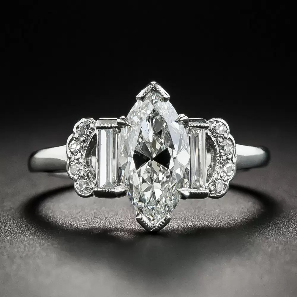 Art Deco 150 Carat Marquise Diamond Engagement Ring  GIA G SI1