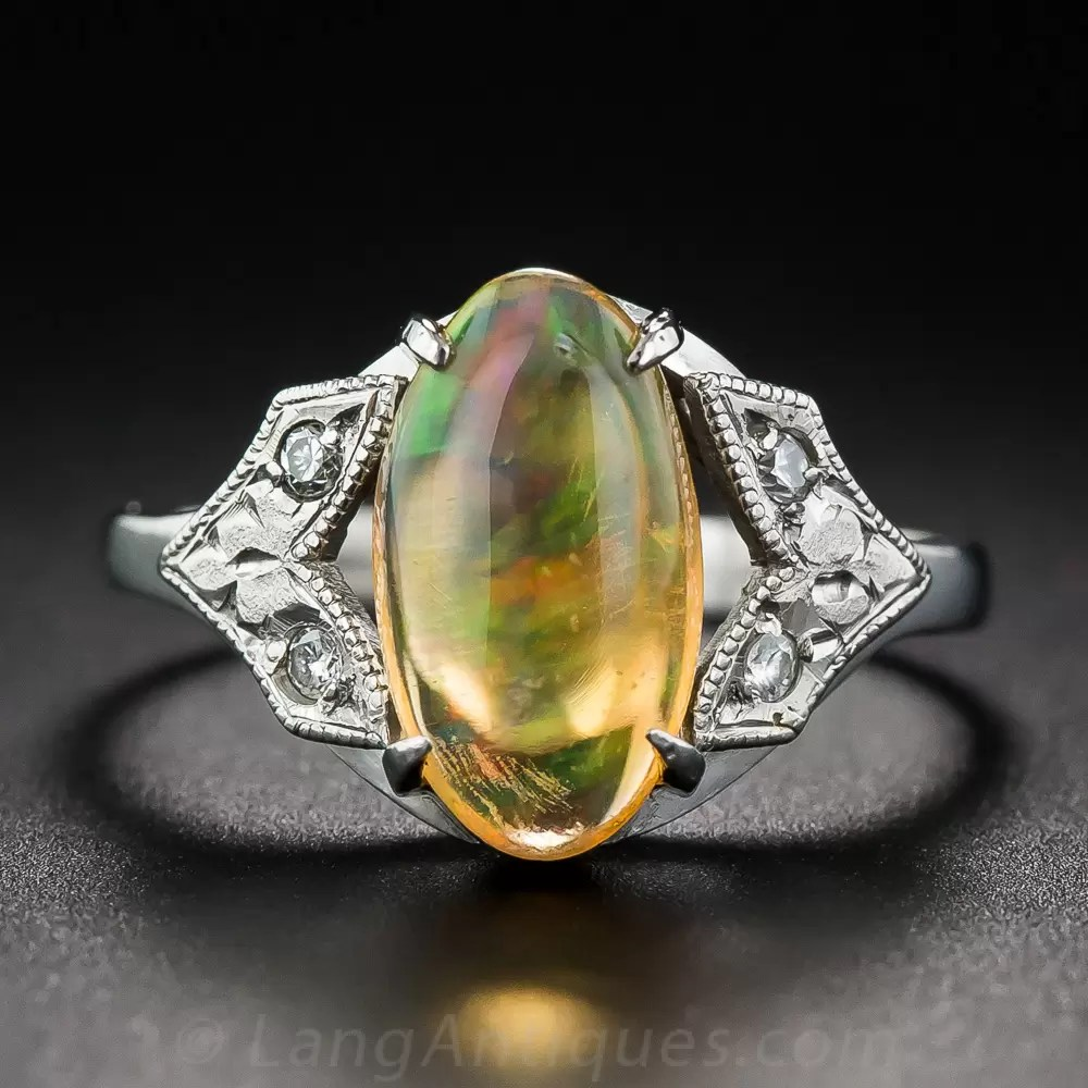 Art Deco Jelly Opal Platinum and Diamond Ring