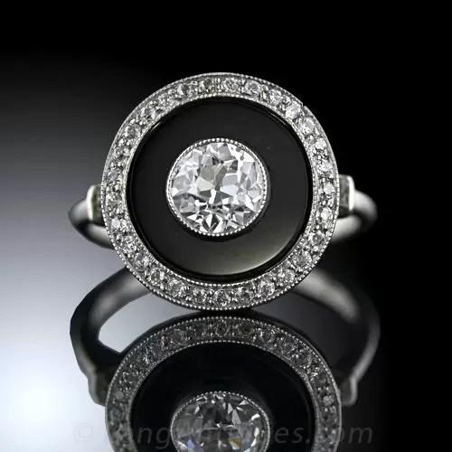 Art Deco Style Black Onyx and Diamond Ring