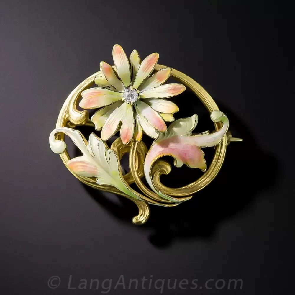 Art Nouveau Flower Brooch by Brassler