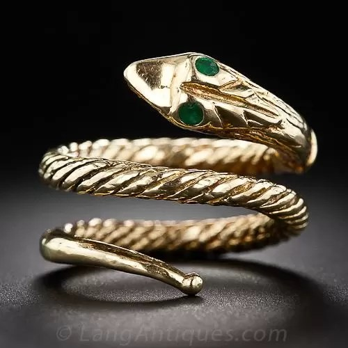 Cartier 18K Gold and Emerald Snake Ring