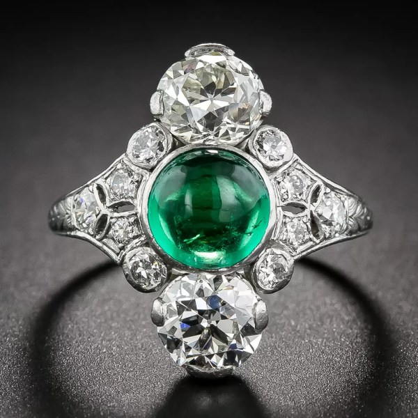 Dreicer & . Cabochon Emerald Art Deco Dinner Ring
