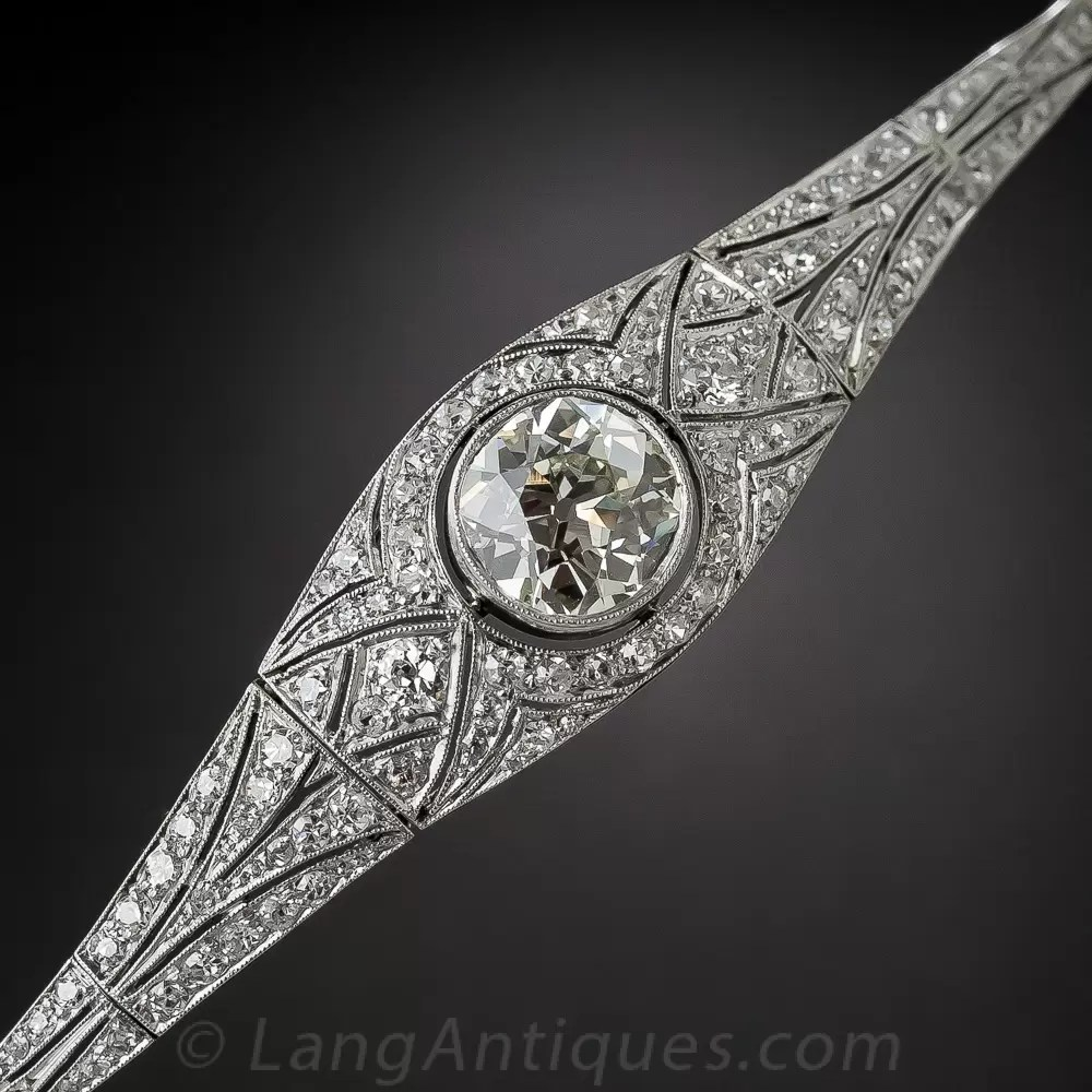 Edwardian Early Art Deco Platinum Diamond Bracelet