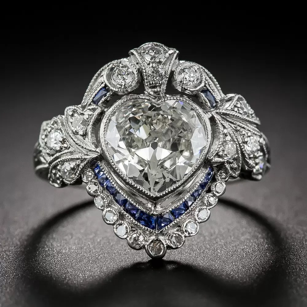 Edwardian HeartShaped Diamond and Sapphire Ring