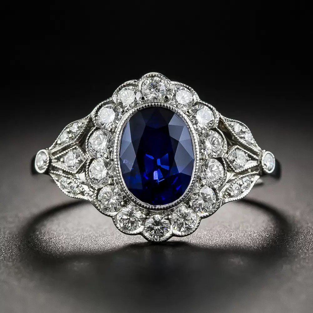 Edwardian Style Oval Sapphire and Diamond Ring  Antique