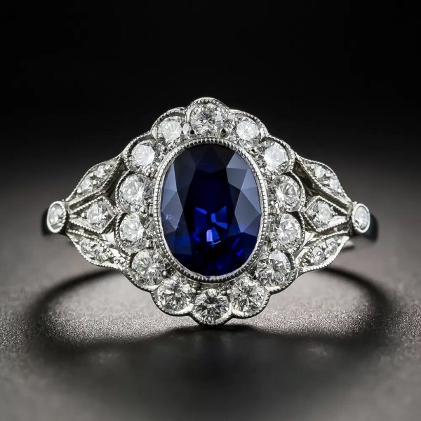 Edwardian Style Oval Sapphire And Diamond Ring - Antique