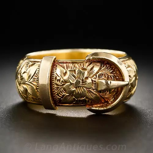 English Victorian 18k Buckle Ring Size 7 Estate