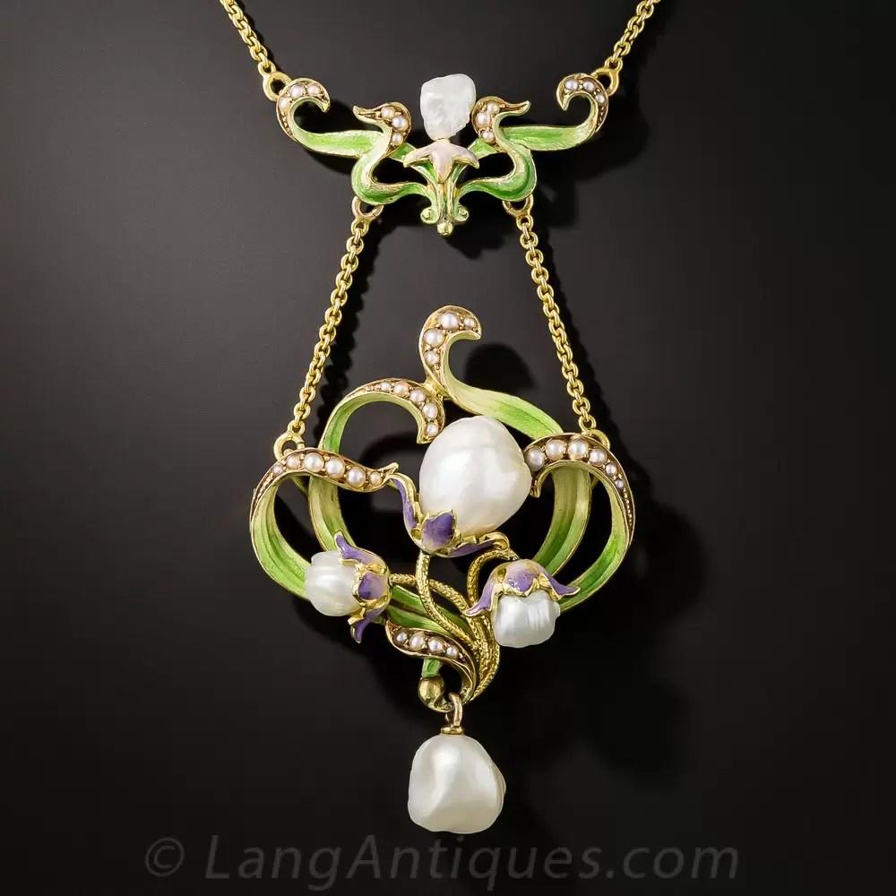 Large Art Nouveau Enamel And Pearl Pendant By Bippart