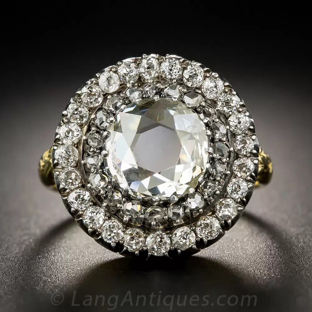 Large Victorian Style Diamond Circular Cluster Ring from