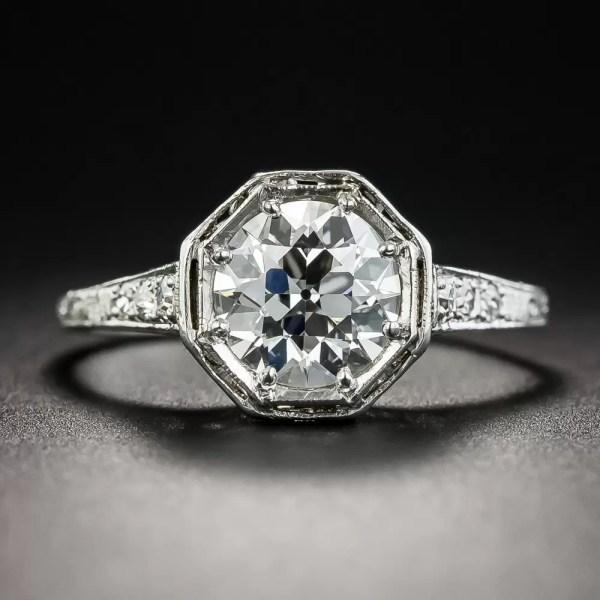 Neoclassical 1.39 Carat European Diamond Platinum
