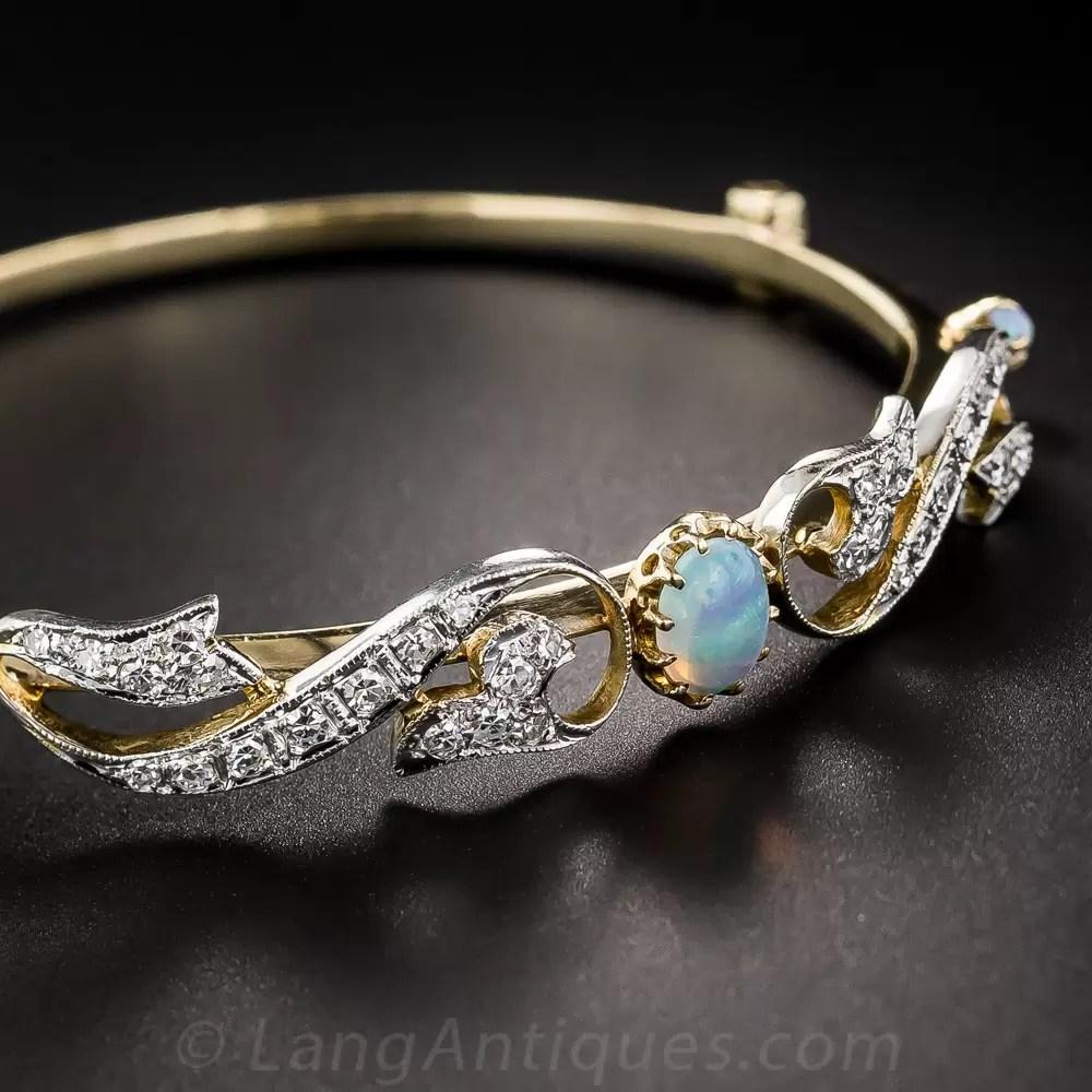 Opal and Diamond Vintage Bangle Bracelet  Vintage Jewelry