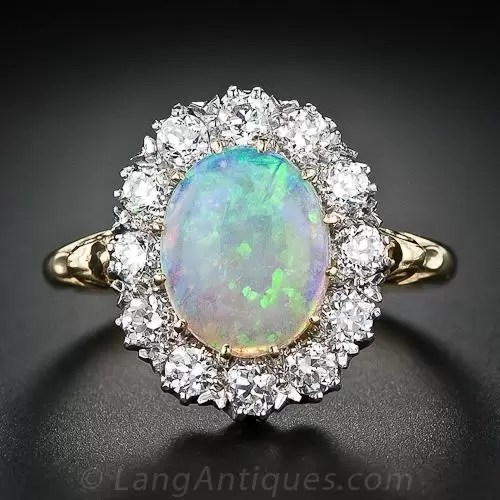 Oval Opal Halo Ring