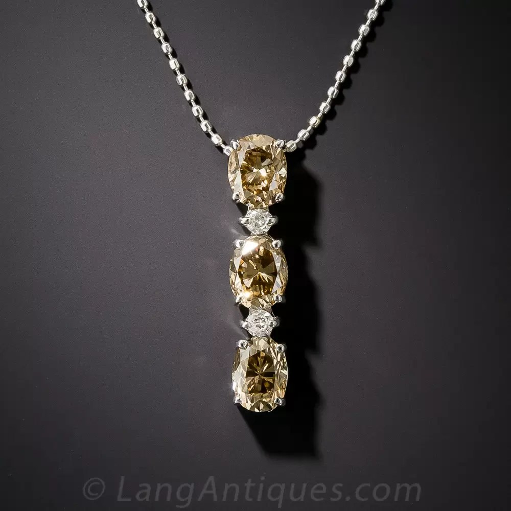 Three Stone Natural Brown Oval Diamond Pendant