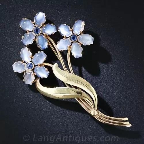Tiffany  Co Retro Moonstone ForgetMeNot Pin