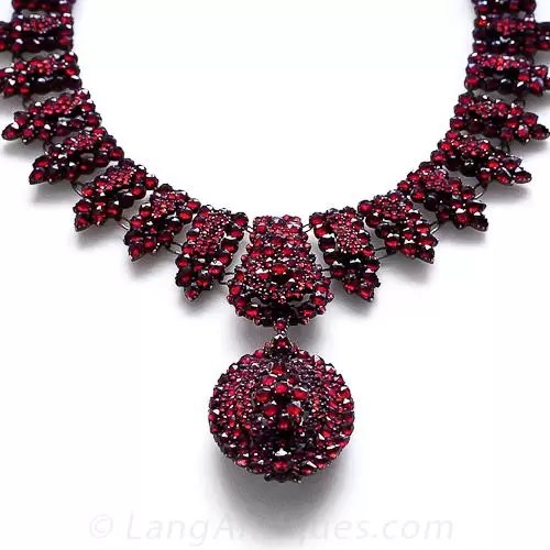 Victorian Bohemian Garnet Necklace with Locket