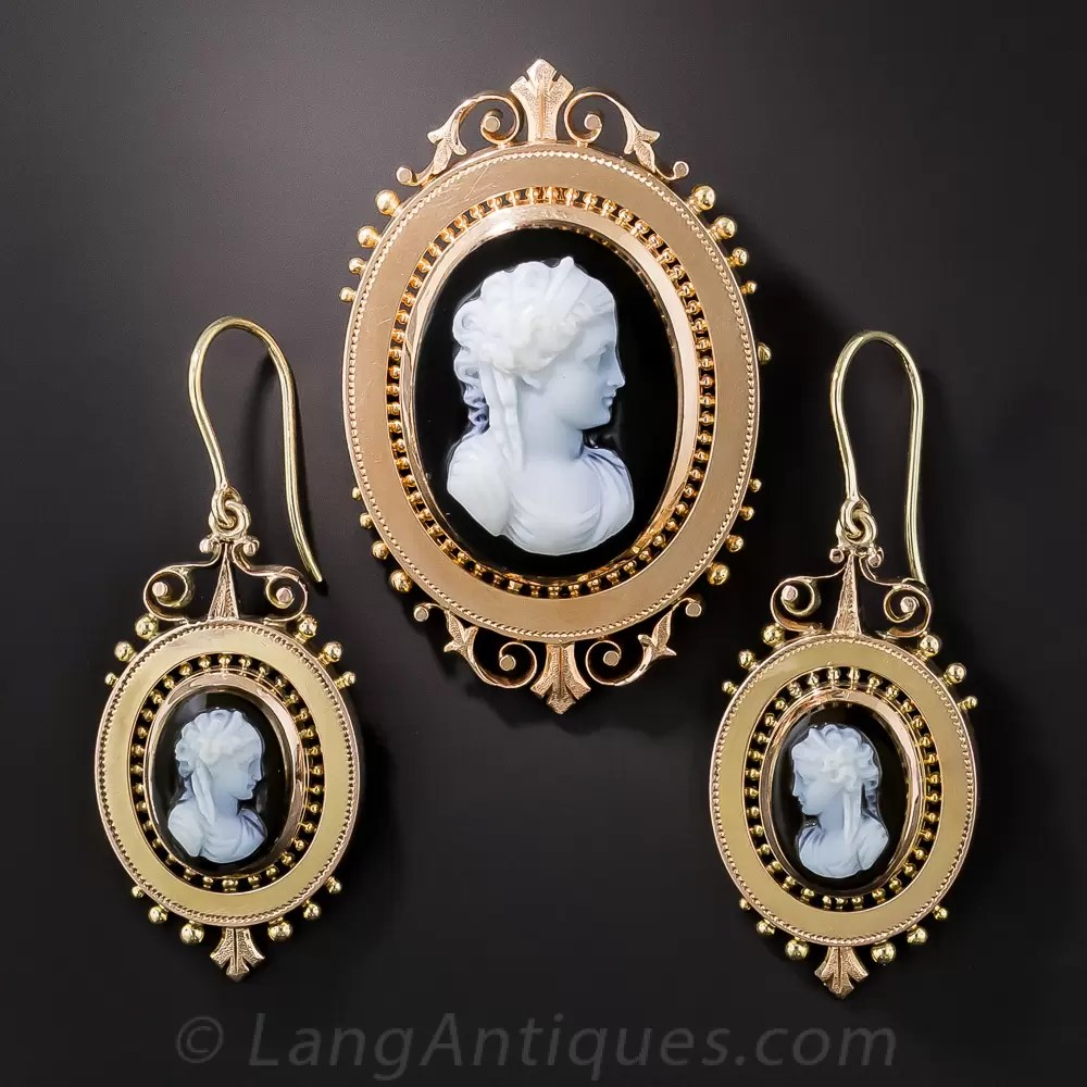 Victorian Cameo BroochPendant And Earring Suite In Rose