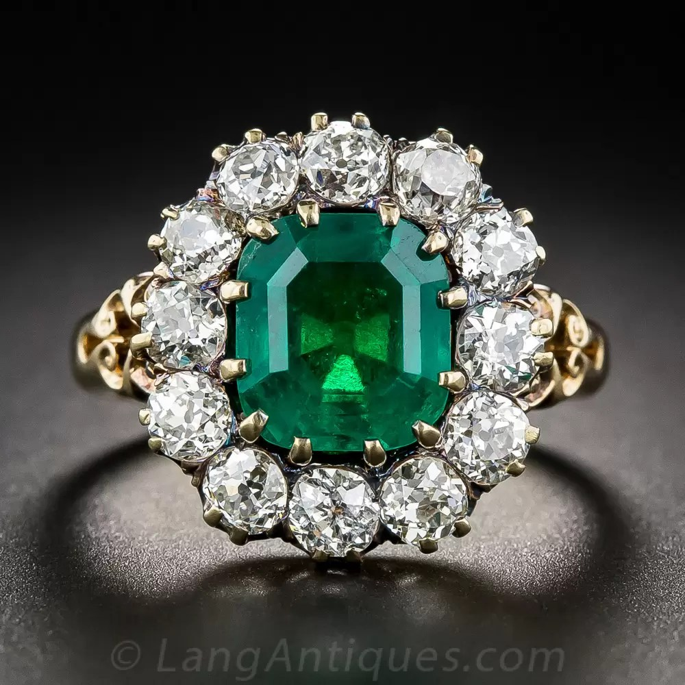 Vintage 275 Carat Emerald and Diamond Halo Ring