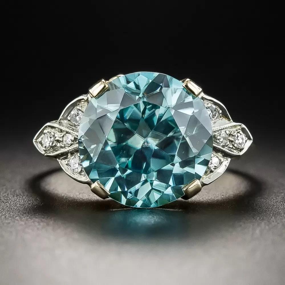 Vintage Blue Zircon And Diamond Ring Vintage Jewelry