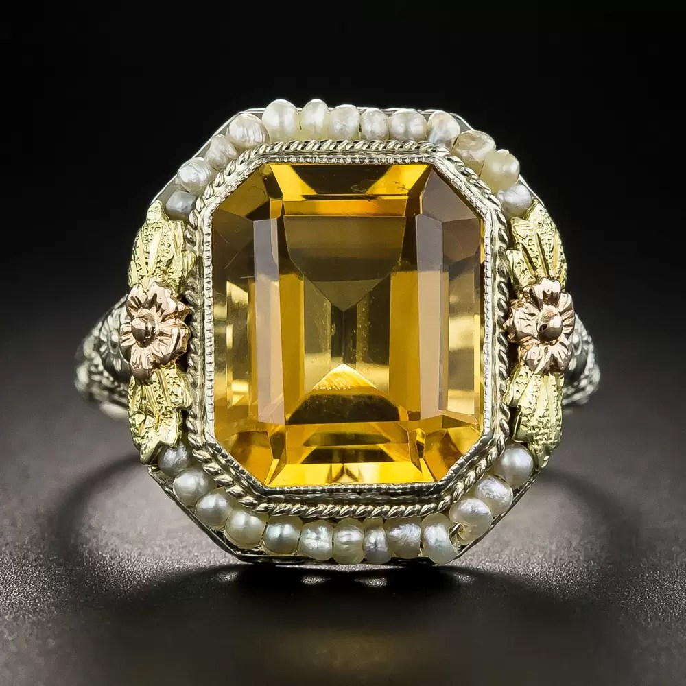 Vintage Citrine Ring Art Deco Jewelry Vintage Jewelry