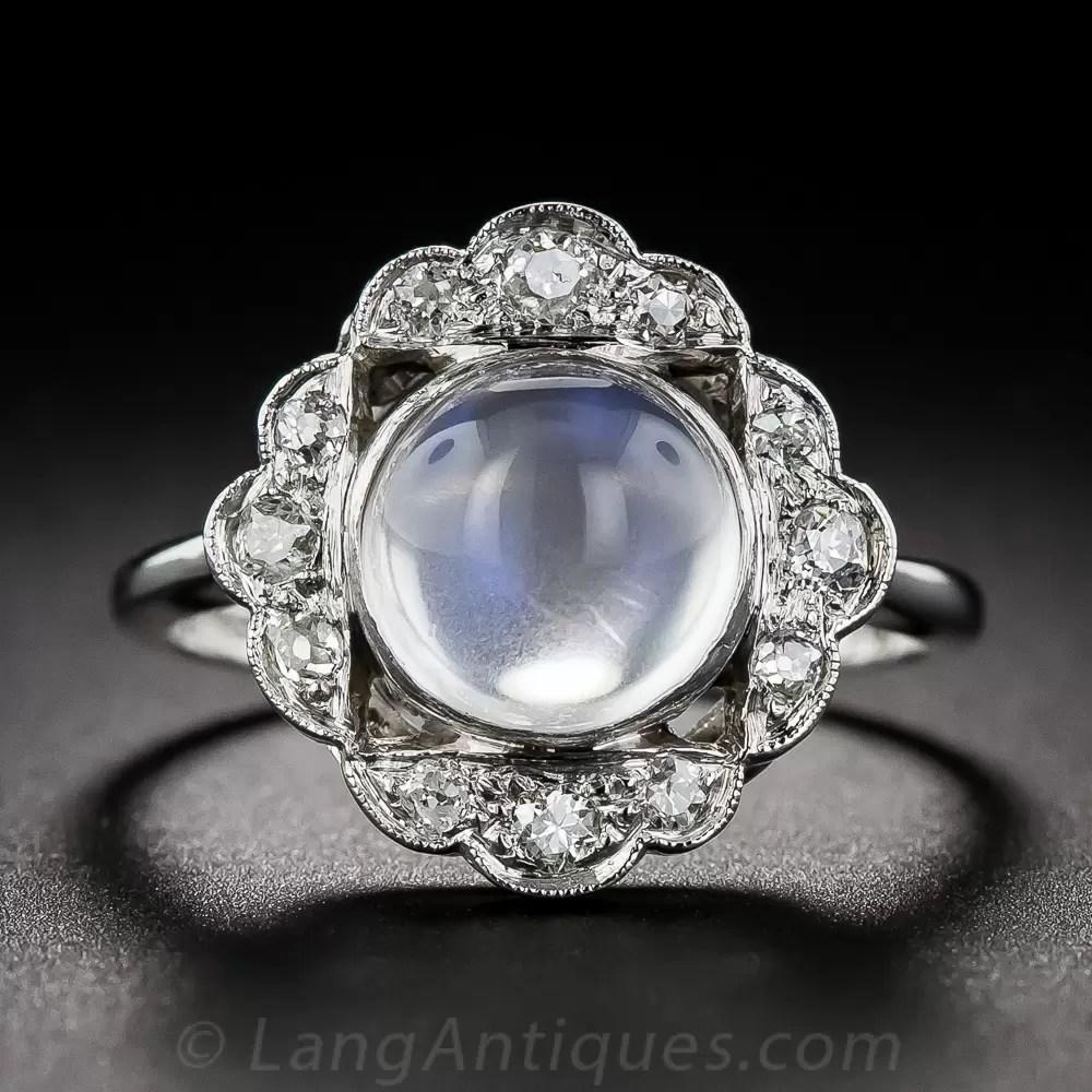 Vintage Moonstone And Diamond Ring