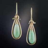 Vintage Natural Burmese Jade Earrings